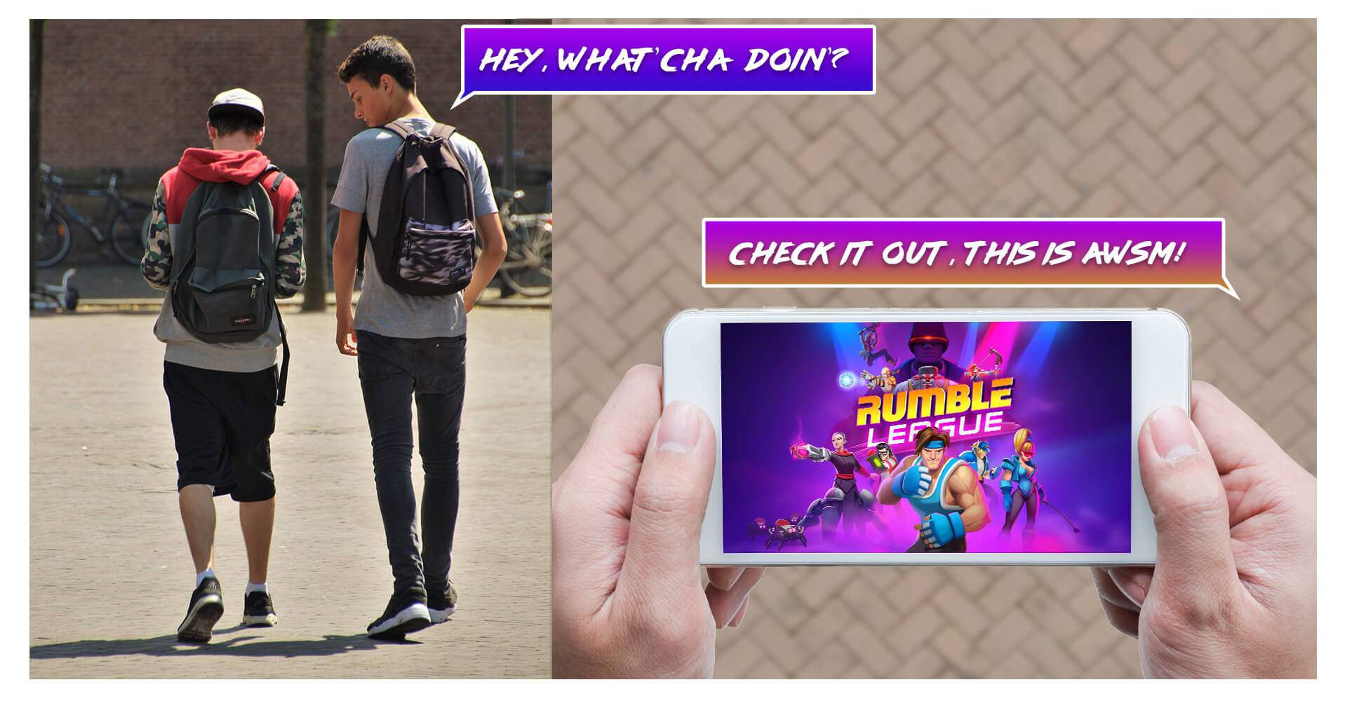 Kids Playing Rumble League on mobile phone